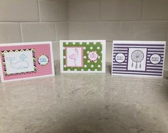 Homemade Happy Birthday Cards- Mixed Set of 3