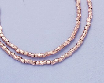 180 of Karen hill tribe Rose Gold Vermeil Style Faceted Beads 1mm. 8.5 inches , Tiny Beads :pg0009