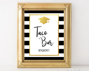 Taco Bar Graduation Party Sign, Black & White Striped Graduation Party Sign, Taco Sign, 8x10 inch, INSTANT PRINTABLE