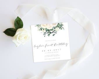White Floral Greenery   Shower Event Invitation Suite   1st Birthday Printable Digital File Printed Invite Invitations Stationery