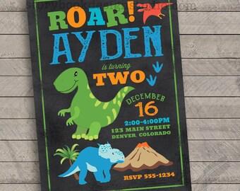 Dinosaur Birthday Party Invitations , Dino, roar, rawr, jurassic, kids, colorful, digital file, printable