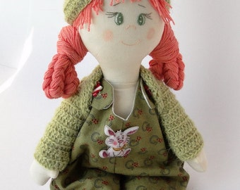 Milana Soft Doll / Green Doll / Great Gift / Stuffed Toy / Trendy Doll / Textile Doll / Fabric Doll / Summer Doll / Author Hanmade Doll