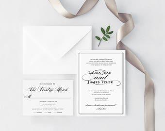 Wedding Invitation - Calligraphy Wedding Invitation - Laura