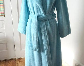Fluffy Turquoise Vintage Women Bath Robe Dressing Gown