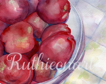 Bowl of Apples Watercolor Print