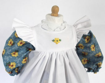 """Doll Dress for 18"""" doll, yellow flowers on blue"""