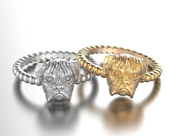Handmade BOXER Face Ring in Oxidized Sterling Silver or 14k Gold.