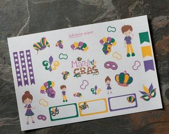 Mardi Gras Stickers  for Erin Condren Life Planner, Plum Paper Planner, Filofax, Kikki K, Calendar Scrapbook SH-131