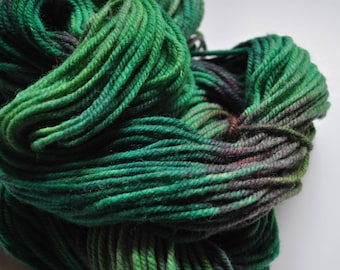 Jungle.  Handpainted Wool Yarn 3 ply Aran Weight