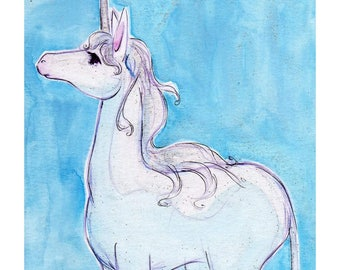 Curious Unicorn Art Print