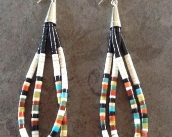 Native American Santo Domingo White Shell Turquoise Multi Stone Double Loop Heishi Sterling Earrings - Dorene Calabaza