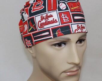 St. Louis Cardinals,Men's Surgical Scrub Cap,Chemo Cap, Doctor's Scrub Hat,Biker's Hat, Vet, Tech's