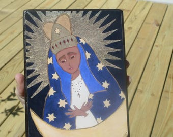 5 X 7 ish inches Our Lady of the Gate of Dawn Icon Print on Wood