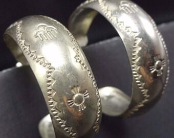 Signed NAVAJO Vintage Hand-Stamped Sterling Silver Loop Hoop EARRINGS