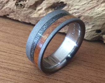 Titanium Ring, Meteorite Ring, Wood Ring, Wedding Ring, Wedding Band, Mens Ring, Mens Wedding Ring, Titanium Wedding Ring, Wood Wedding Ring