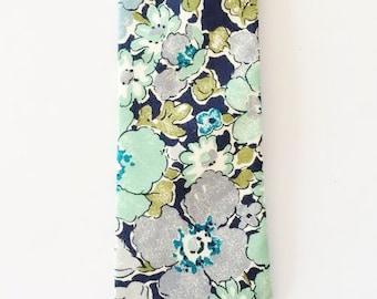 Custom Wedding Tie, Liberty of London Print Necktie, wedding tie, floral necktie, groomsmen necktie, blue bow tie, self tie, floral mens tie