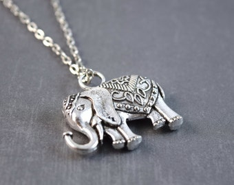 Elephant Necklace - Silver Elephant Necklace - Elephant Pendant - Zoo Jewelry - Animal Necklace - Elephant Jewelry - Elephant Charm