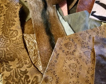 Embossed Leather Scraps Floral Leather Scraps for Earrings [Lightweight leathers you receive approx. 25 peices a lb.