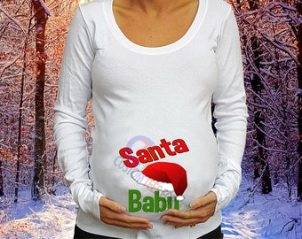 USA Cutoff Dec 19th Santa Baby Maternity Shirt Christmas Maternity Shirt Christmas  Shirt Christmas Pregnancy shirt Santa Maternity shirt