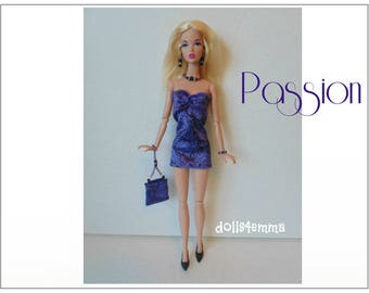 Poppy Parker Doll Clothes -  PASSION Velvet Dress, Hand-beaded Purse and Jewelry Set - Custom Fashion - by dolls4emma