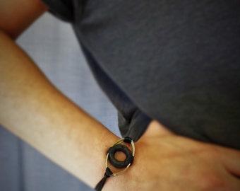 Black evil eye bracelet with lava stone, Modern evil eye bracelet, adjustable bracelet, casual chic bracelet