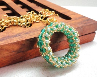 Jewelry necklace Beadwork pendant  handmade in gold turquoise teal  and green by artefyk