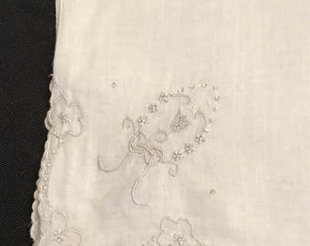 Vintage White Handkerchief with Lt Blue/Gray Wreath, Ribbon &  Flower Embroidery