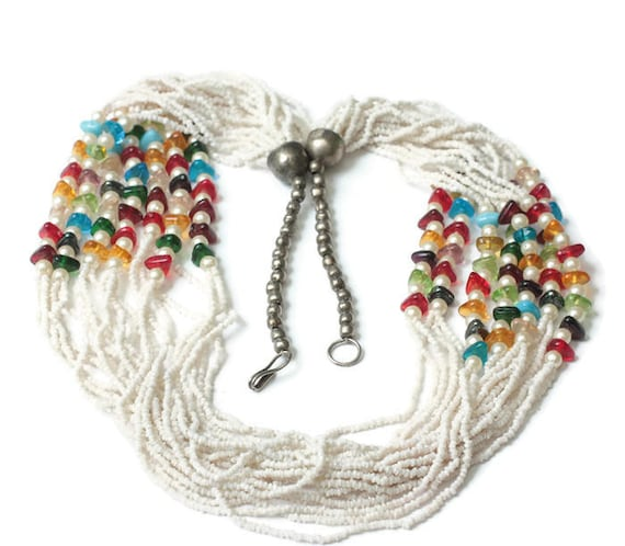 Southwestern White Seed Bead Necklace Faux Pearls Multi Color Beads Multi Strand Necklace Vintage