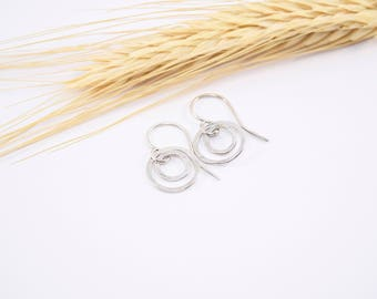 Silver Circle Earrings - Hammered Circle Earrings - Sterling Silver Earrings - Small Silver Earrings - Delicate Jewelry - Everyday Earrings