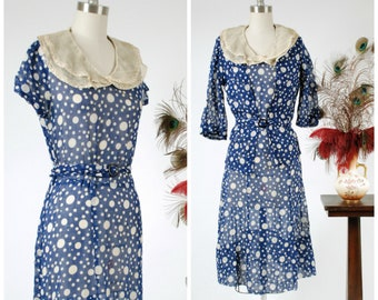Vintage 1930s Dress Set - Darling Blue and White 30s Polka Dot Day Dress with Matching Jacket and Pleated Collar