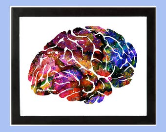 Colorful Human Brain WaterColor Art Print .... Anatomy Lateral Side View Abstract Medical Art Neurology art Wall Decor Art Gift