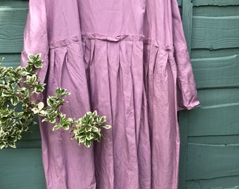 RITANOTIARA European washed Linen boho empire line clover pink dress frayed edges lagenlook layering All SIzes prairie gypsy made to order