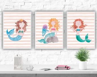 Mermaid Watercolor Nursery Art Print Nursery Set Mermaid Poster Girl's Room Nursery Decor Mermaid Print Nautical Nursery Nautical Decor
