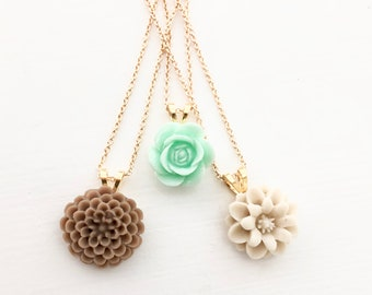 Gold Necklace Floral Pendants in Brown, Mint Green & Tan
