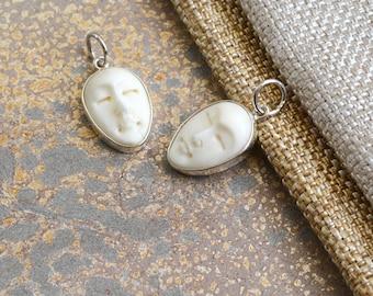 Bone Moon Face Charm, Carved Bone Face Charm, Bali Bone Carving, Yoga Charm, White Bone Jewelry, Moon Jewelry, Serene Jewelry, One, BS171124
