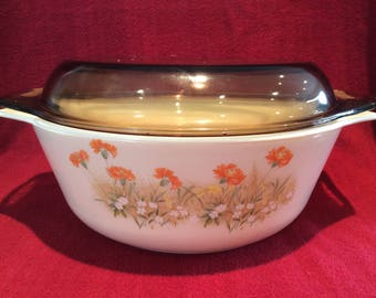 Pyrex Field Flowers part of the St Michael range for Marks & Spencer Casserole dish 2 litre circa 1980's