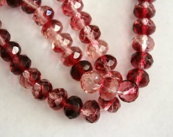 Vintage faceted glass donut beads - pink clear - 9x6mm (12)