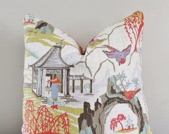 Asian Neo Toile Pagoda Decorative Pillow Cover // Robert Allen Decorative Pillow Cover 18x18, 20x20 22 24 26