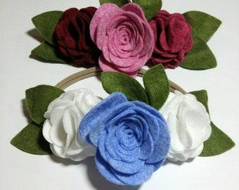 Large Rose and Pom Wool Felt Flowers Headband, Wool Felt Flower Crown, Baby Girls Headband, New Born Headband, Wedding Flower Girl Headband