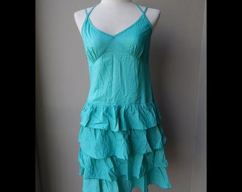 Green Cotton Summer Sundress Dress Bust 34 waist 26 hip 34