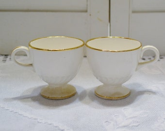Vintage Footed Demitasse Cup Set of 2 Small Teacup Coffee Creamy White Gold Rim PanchosPorch