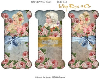 RIBBON LACE HOLDER Marie Antoinette Era Roses French Court Gift Party Favor Vintage Craft Scrapbooking Digital Download Decoupage Collage
