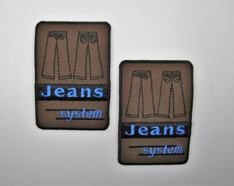 Lot 2 applications heat-sealed badges jeans - ref 6I Brown pattern background