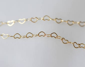 Gold plated Brass Heart Chains, Real Gold Designer Chain, 3.5mm Thin Decorative Chains (#GB105)/ 1 Meter=3.3 ft