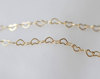Gold plated Brass Heart Chains, Real Gold Designer Chain, 3.5mm Thin Decorative Chains (#LK-105)/ 1 Meter=3.3 ft