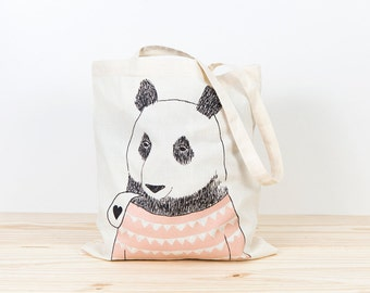 Bear Tote bag, screen printed canvas tote, organic canvas tote, depeapa, illustration, perfect for gift, panda bear tote bag, love, pink