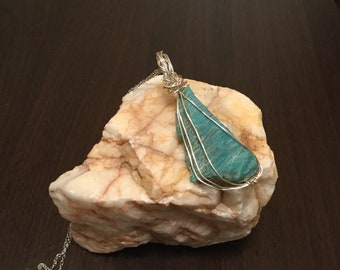 Amazonite Wire Wrapped Pendant, Raw Amazonite on Stainless Steel Chain, Handmade Jewelry, Soothing Stone