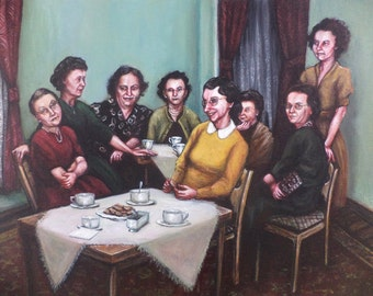 Women at Tea, Original Painting, Ladies, Friendship, Tea Party, 1950s, 1960s, Party, Vintage, Retro, Group Portrait, Green, Red, White