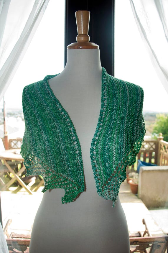 Handknitted Sparkly Shawl/Shawlette in Shades of Green and White