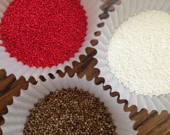 Gingerbread Sprinkles ~ Gingerbread sprinkle mix ~ Nonpareil ~ Sprinkles ~ Red ~ Brown ~ White